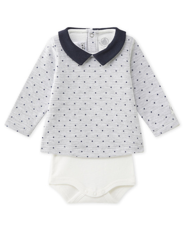 Baby boy's printed blouse bodysuit