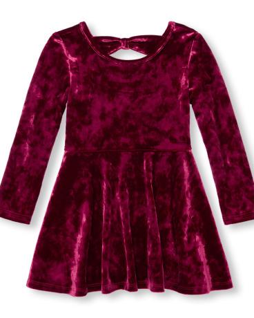 Toddler Girls Long Sleeve Crushed Velvet Cutout Back Dress