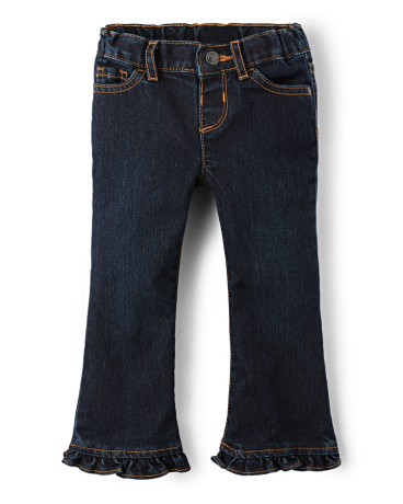 Baby And Toddler Girls Basic Ruffle Flare Jeans - Odyssey Wash