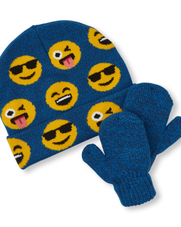 Toddler Boys Emoji Print Beanie And Mittens Set