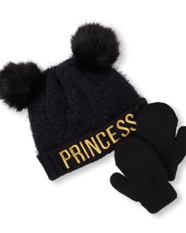Toddler Girls Metallic 'Princess' Double Pom Pom Fuzzy Beanie And Mittens Set
