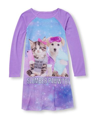 Girls Long Raglan Sleeve 'Slumber Pawwty!' Cat And Dog Nightgown