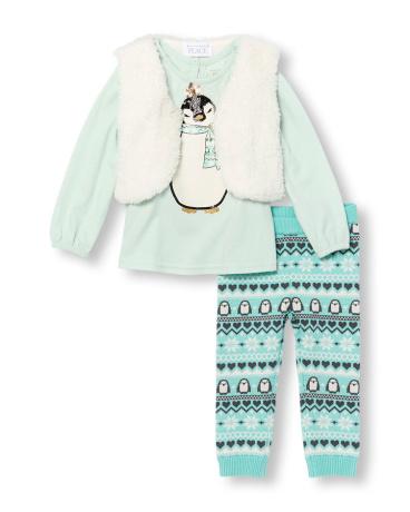 Toddler Girls Long Sleeve Embellished Penguin Graphic Top Faux Fur Vest And Fair Isle Knit Leggings Set