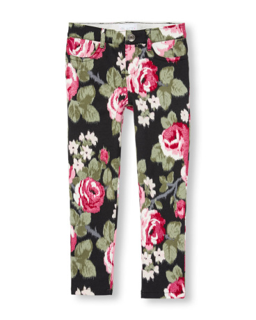 Girls Glitter Floral Print Knit Jeggings