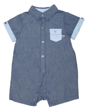 Baby Boy Oxford Chambray Romper