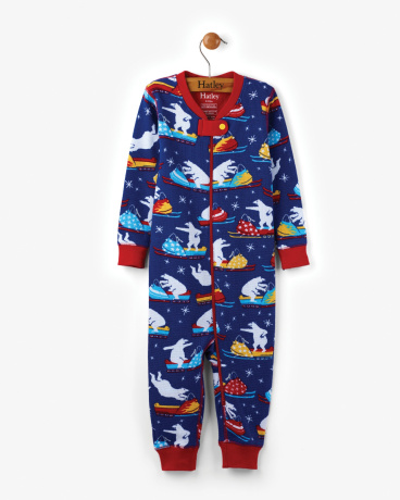 Polar Bear Snowmobile Tricks Organic Cotton Baby Waffle Coverall
