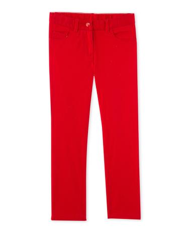 Girls' coloured denim trousers