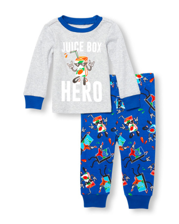 Baby And Toddler Boys Long Sleeve 'Juice Box Hero' Graphic Top And Printed Pants PJ Set