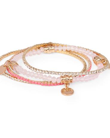 Girls Skinny Rhinestud And Beaded Bracelet 4-Pack