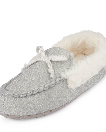 Girls Glitter Faux Fur Moccasin Slipper