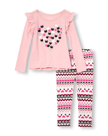 Toddler Girls Long Ruffle Sleeve Embellished Graphic Top And Printed Leggings Set