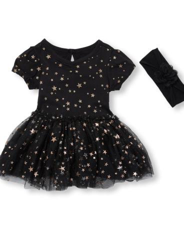 Baby Girls Glitter Star Printed Mesh Tutu Bodysuit And Flower Headwrap Set