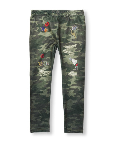 Girls Photo-Real Patched Camo Print Leggings
