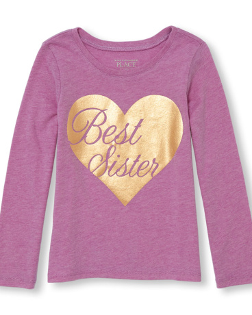 Toddler Girls Long Sleeve 'Best Sister' Heart Neon Graphic Tee