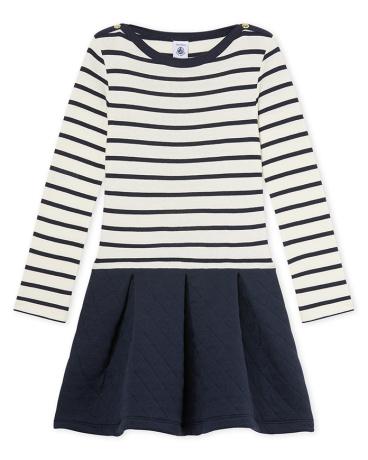 Girl's striped dual fabric dress