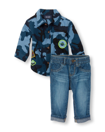 Baby Boys Long Sleeve Patch Camo Button-Down Shirt And Cuffed Jeans Set