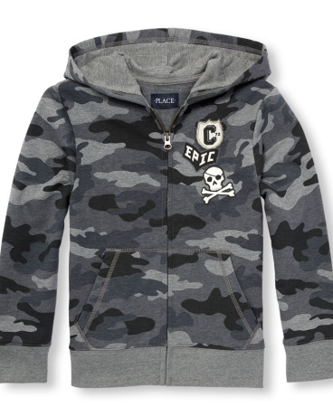 Boys Active Long Sleeve Patch Camo Printed Full-Zip Hoodie