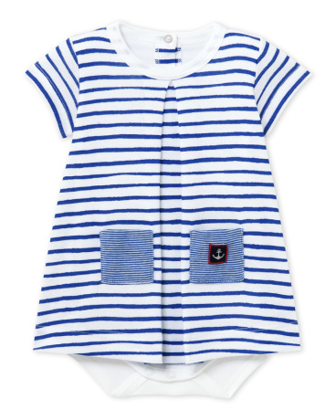 Baby girl decorative striped bodysuit dress