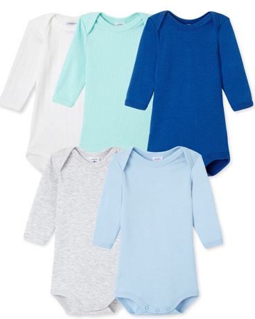 Pack of 5 baby boy long-sleeved bodysuits