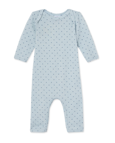 Baby boys' short wool and cotton coverall