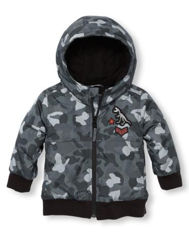 Toddler Boys Long Sleeve Hooded Bomber Jacket