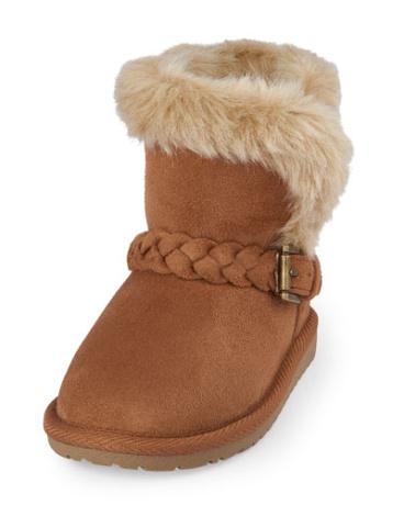 Toddler Girls Braided Belt Faux Fur Chalet Boot