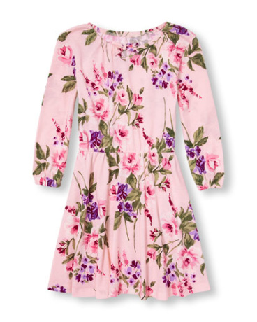 Girls Long Sleeve Printed Knit Peasant Dress