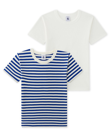 Set of 2 boy's striped and plain T-shirts