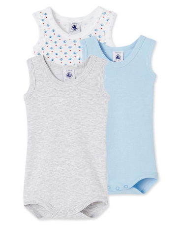 Pack of 3 baby boy sleeveless bodysuits