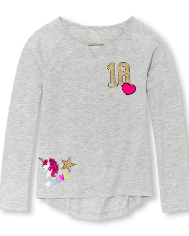 Girls Long Sleeve Embellished Patch Graphic Top