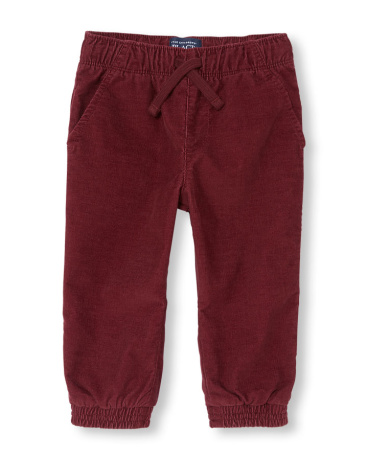 Toddler Boys Jersey-Lined Corduroy Jogger Pants