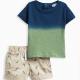 Baby Boy Dip Dye Top and Printed Short Set