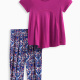Baby Girl Burnout Top with Printed Pant