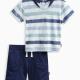 Baby Boy Reverse Print Stripe Set