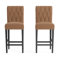 Espen® Leather Set of 2 Bar Stools