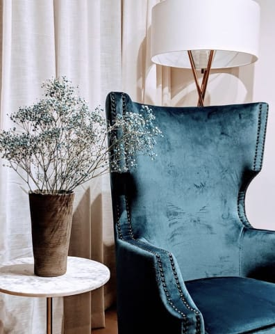 Alec wingback armchair peacock teal