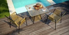 Lanzarote 3 Piece Outdoor Setting 2x Dining Chair with Dining Table