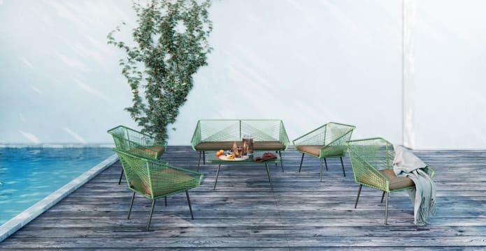 Alicante 6 Piece Outdoor Setting 4x Armchair and Lounge and Coffee Table