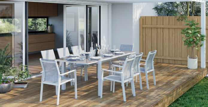 Malibu 8 Seater Outdoor Dining Set with Extendable Table