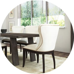 Bacchus dining room white chairs