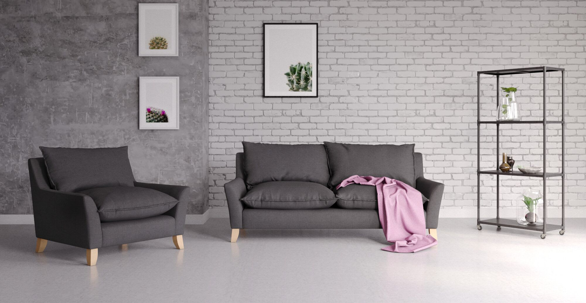 A black sofa with pink rug