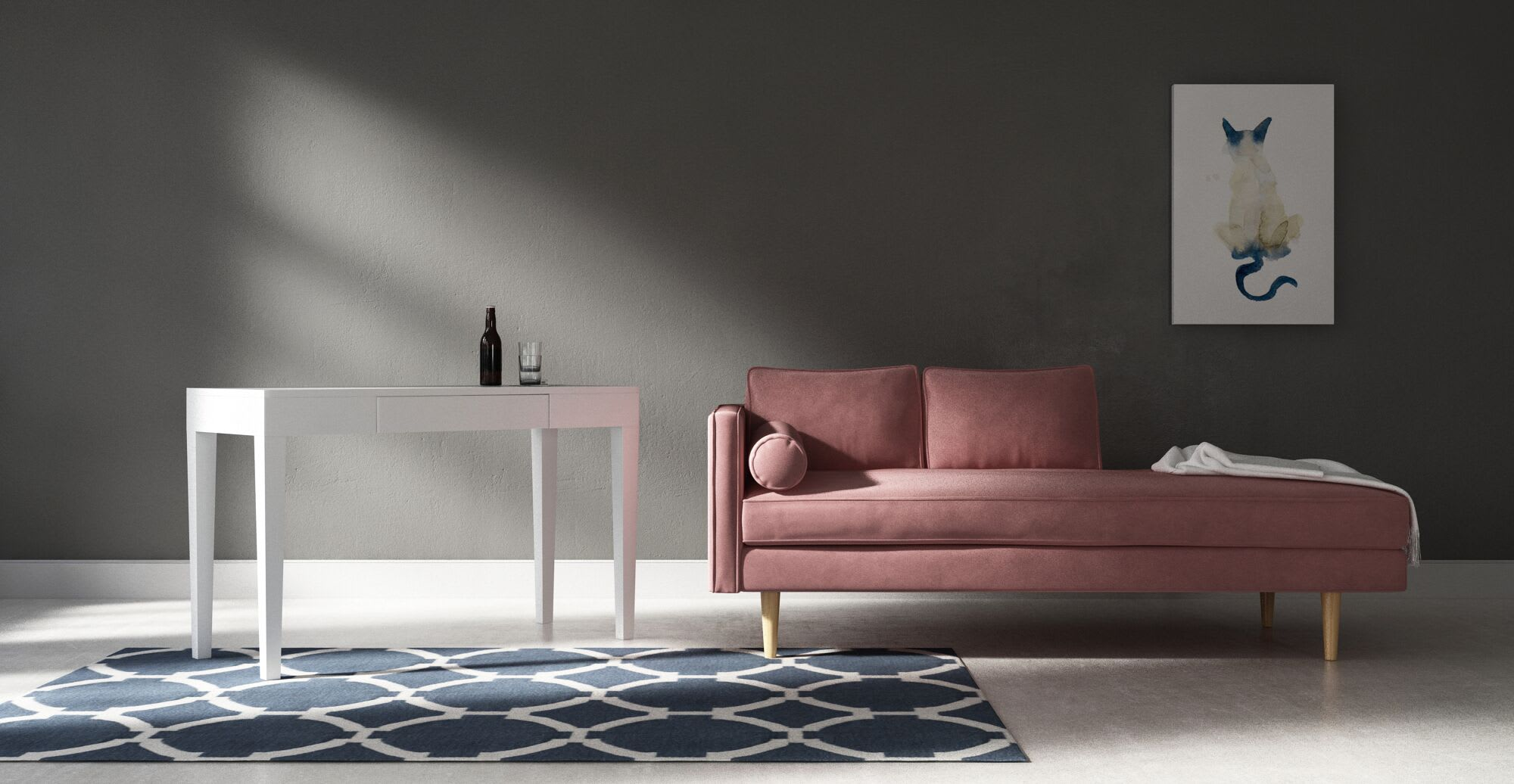 a pink sofa in natural light