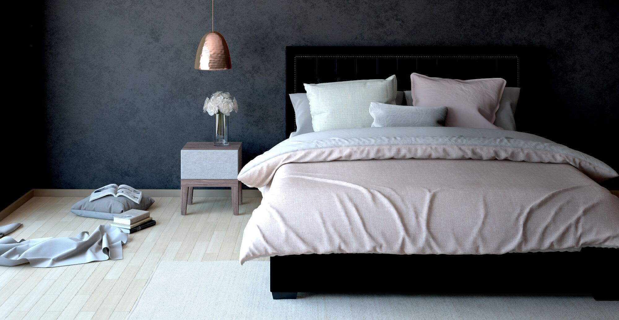 a designer bed with multiple pillows