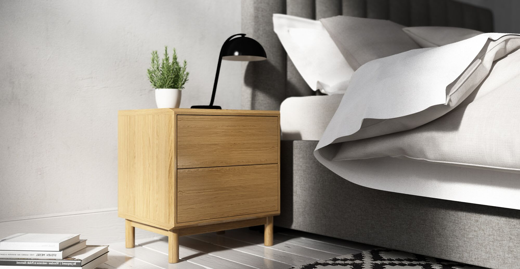 A bedside table in designer bedroom