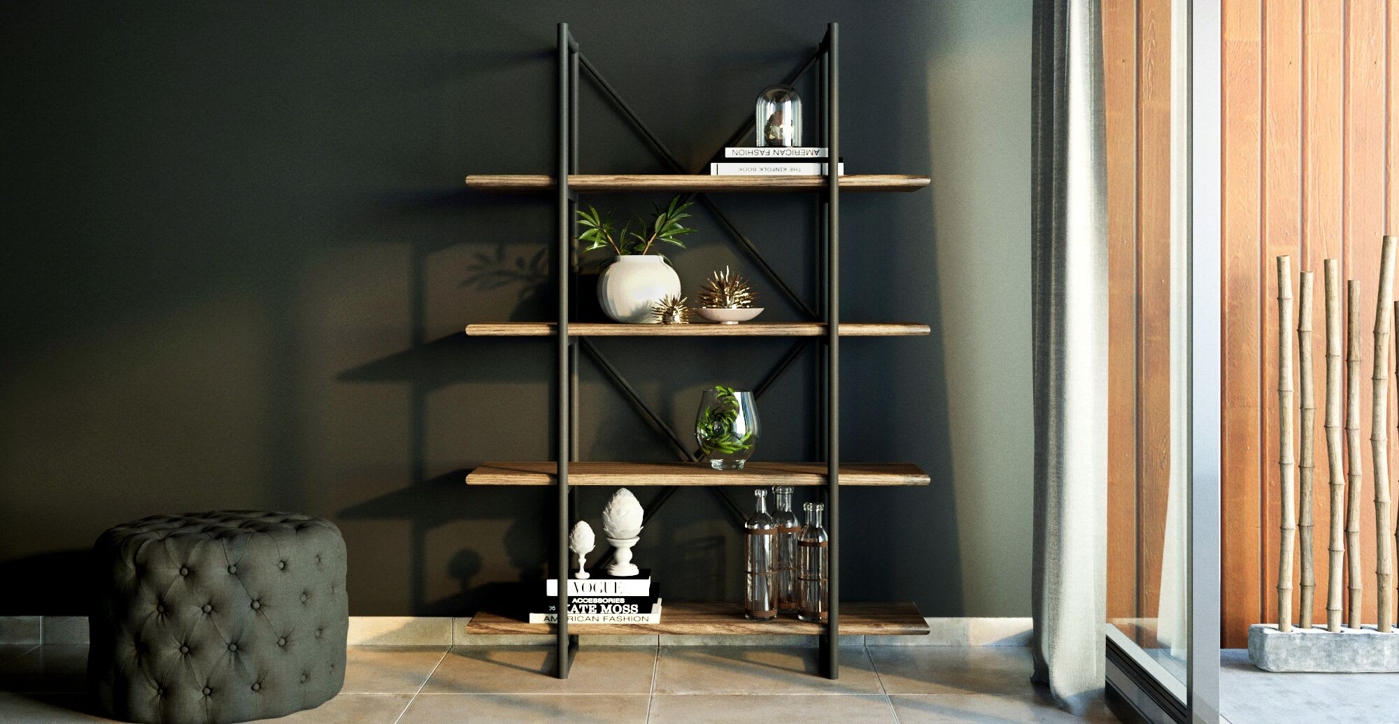 a wooden shelf unit in a designed space