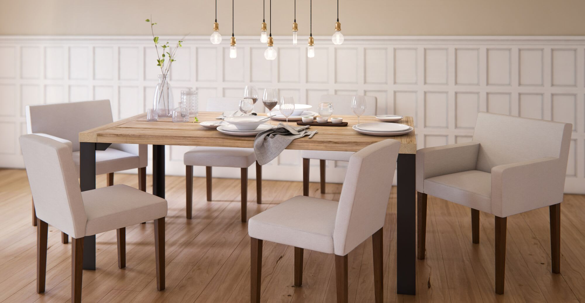 comfortable dining chairs in a designed space