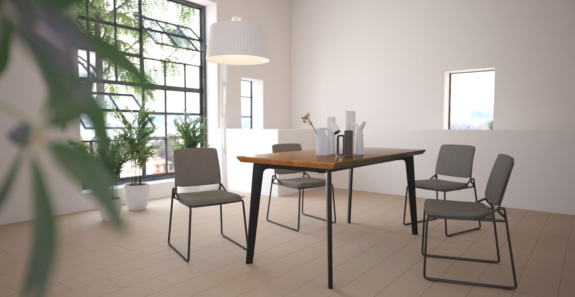 a modern dining set in a designed space