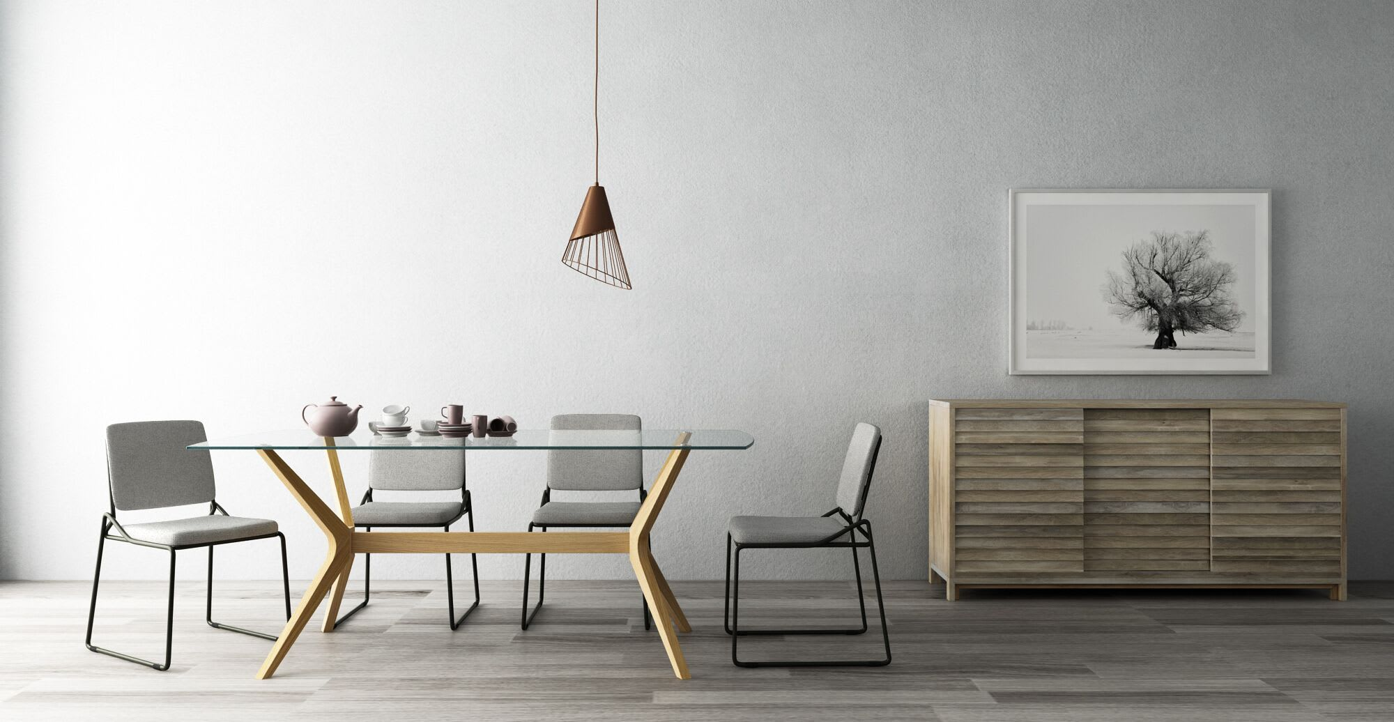 A dining room with a sideboard