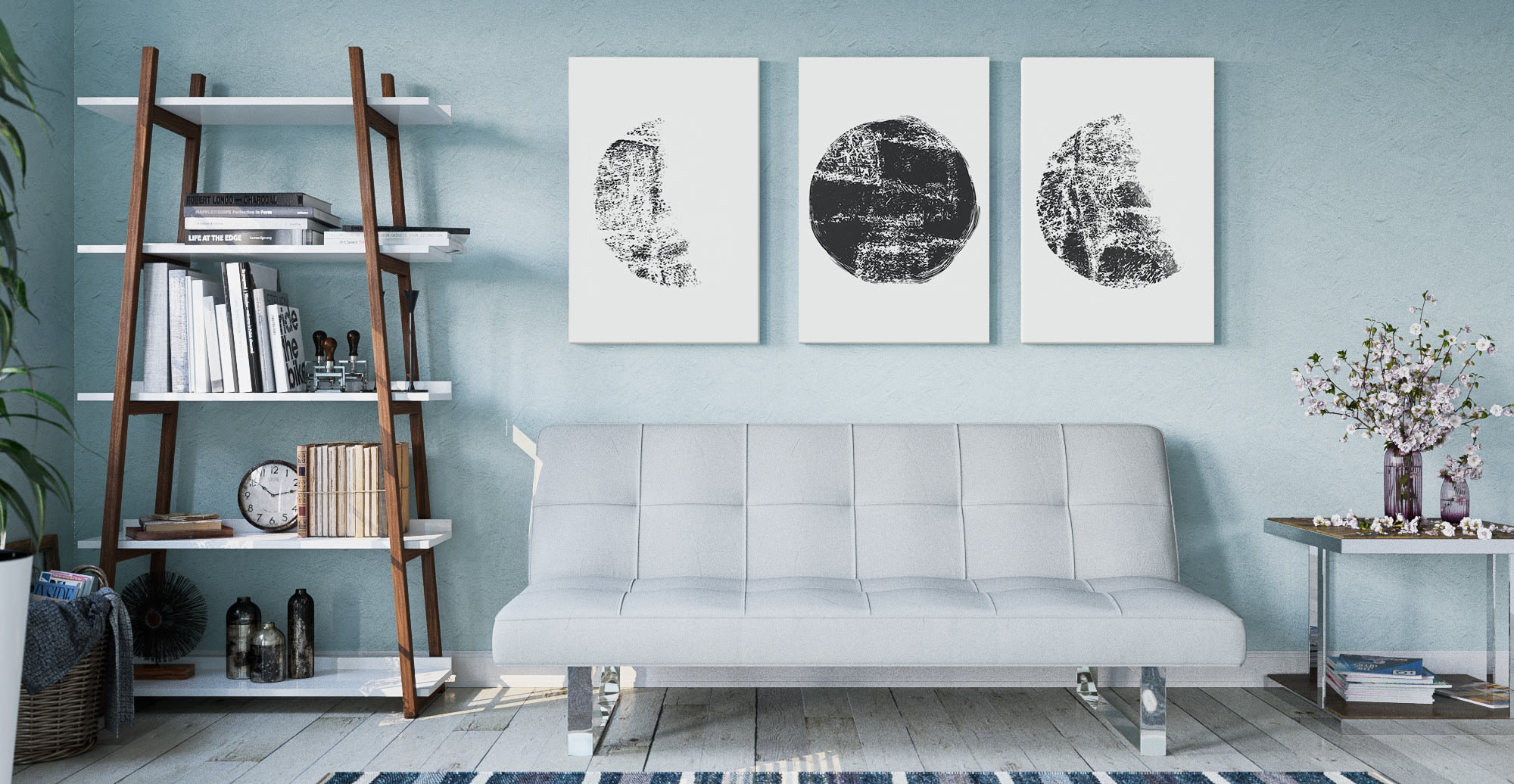 Lunar Wall Art Print in Contemporary style Living Room