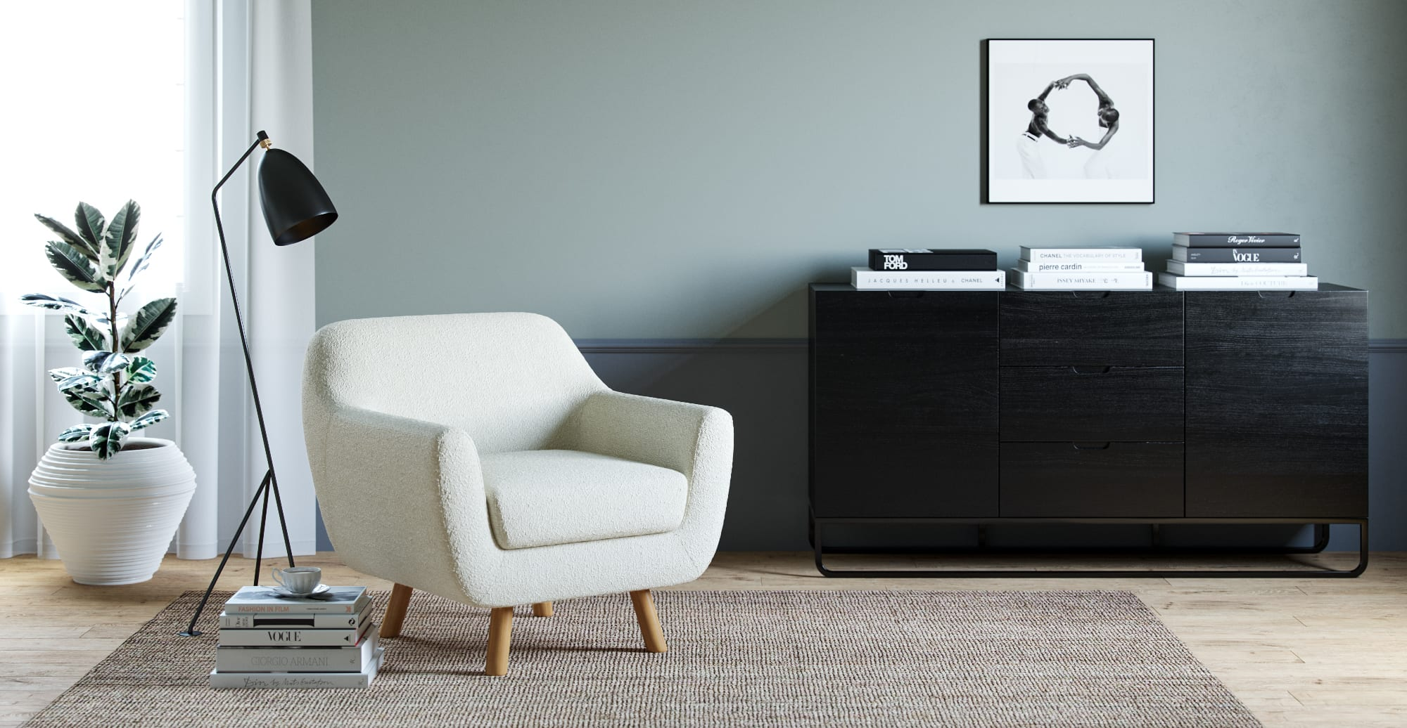 Tate Armchair in Dolly White Pavilion Boucle - Nursing chairs & rocking chairs